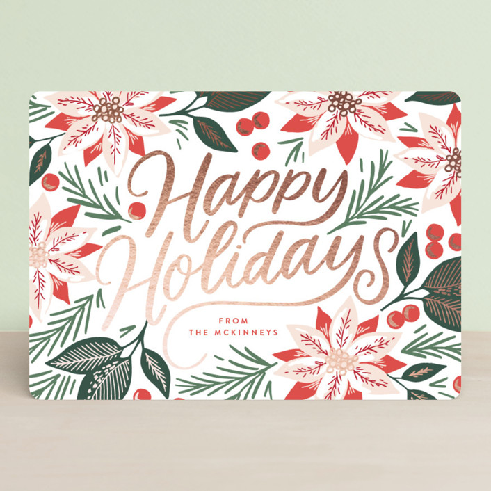 """Poinsettia Field"" - Foil-pressed Holiday Cards in Cranberry by Alethea and Ruth."
