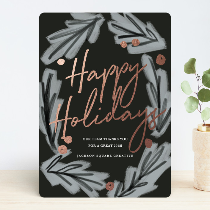 """frosty leaves"" - Modern Foil-pressed Holiday Cards in Night by Rebecca Durflinger."