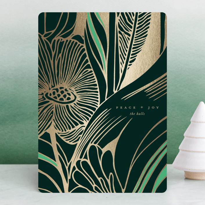 """Wintergarden"" - Modern, Bohemian Foil-pressed Holiday Cards in Noir by kelli hall."