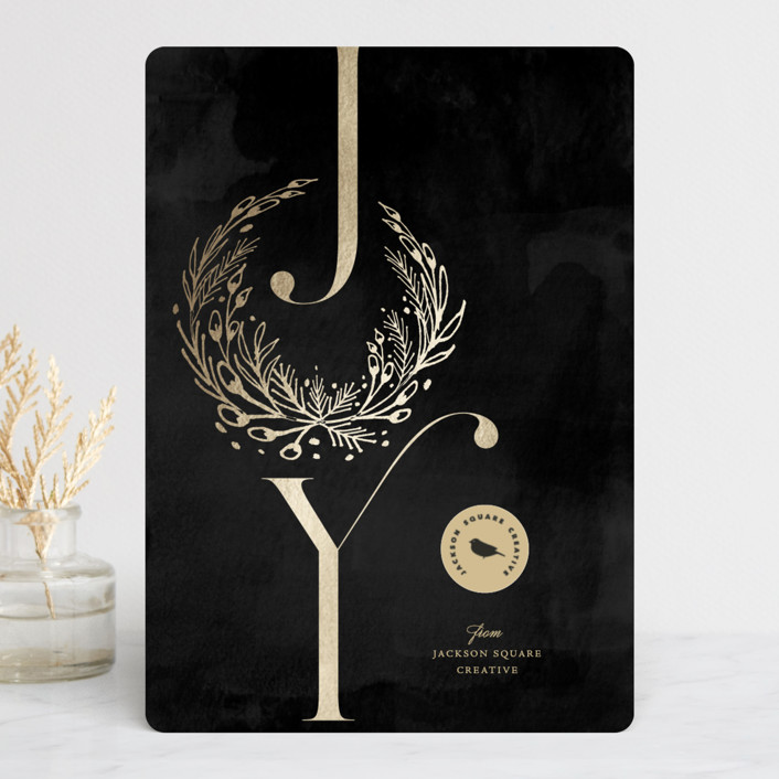 """""""Rustic Foliage Joy"""" - Foil-pressed Holiday Cards in Charcoal by fatfatin."""