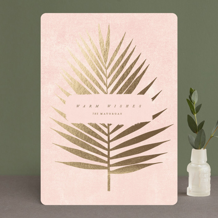 """Tropic"" - Bohemian Foil-pressed Holiday Cards in Winter Rose by kelli hall."