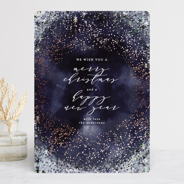 """""""starry wreath"""" - Foil-pressed Holiday Cards in Midnight by Phrosne Ras."""