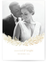This is a beige foil stamped holiday card by Jennifer Wick called crest of pines with foil-pressed printing on smooth signature in standard.