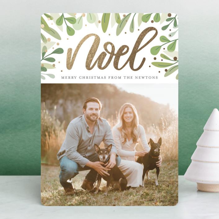 """Abundant Noel"" - Foil-pressed Holiday Cards in Seafoam by Cat Caudillo."