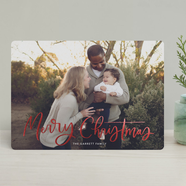 """""""Modern Merry Greeting"""" - Foil-pressed Holiday Cards in Winter by Kristen Smith."""