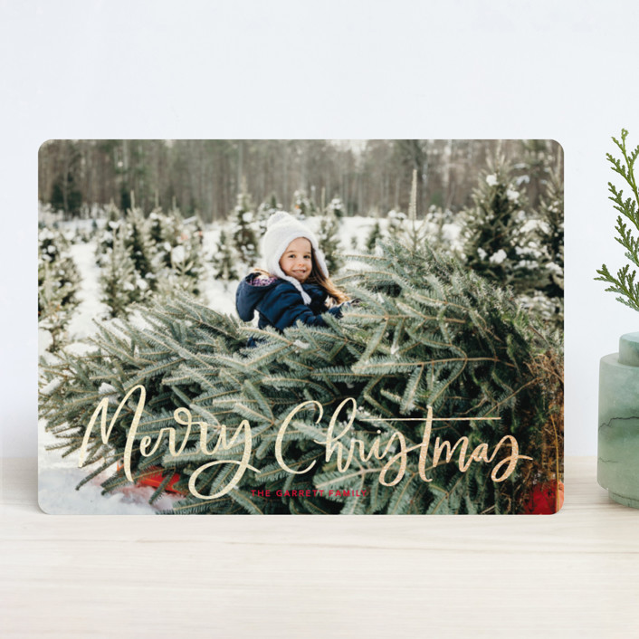"""Modern Merry Greeting"" - Foil-pressed Holiday Cards in Apple by Kristen Smith."