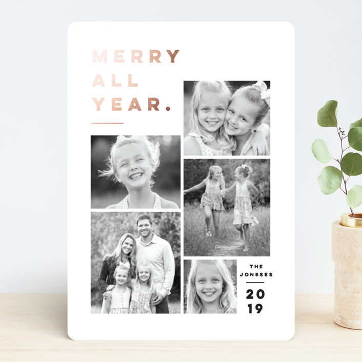 """Merry All Year."" - Foil-pressed Holiday Cards in Winter by Pink House Press."