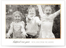This is a grey foil stamped holiday card by Sara Hicks Malone called Sending Joy with foil-pressed printing on smooth signature in standard.