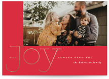 This is a red foil stamped holiday card by Carrie ONeal called airy joy with foil-pressed printing on smooth signature in standard.