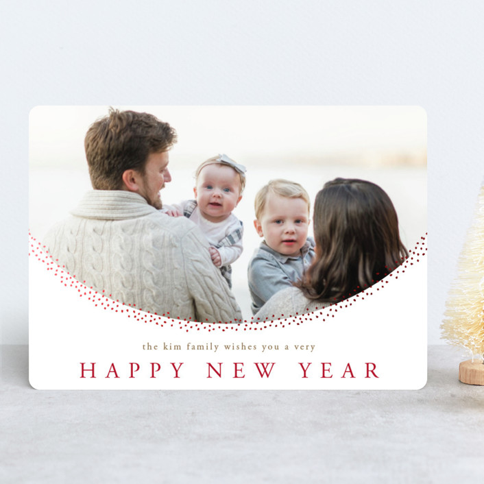 """""""Delicate Dots"""" - Foil-pressed Holiday Cards in Ruby by Jennifer Lew."""