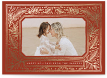 This is a red foil stamped holiday card by Katharine Watson called Folk Border with foil-pressed printing on smooth signature in standard.