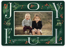 This is a green foil stamped holiday card by Jennifer Wick called Joyfully framed with foil-pressed printing on smooth signature in standard.