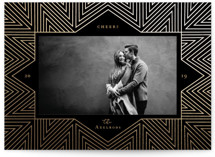 This is a black foil stamped holiday card by Rebecca Daublin called Grand Lines with foil-pressed printing on smooth signature in standard.