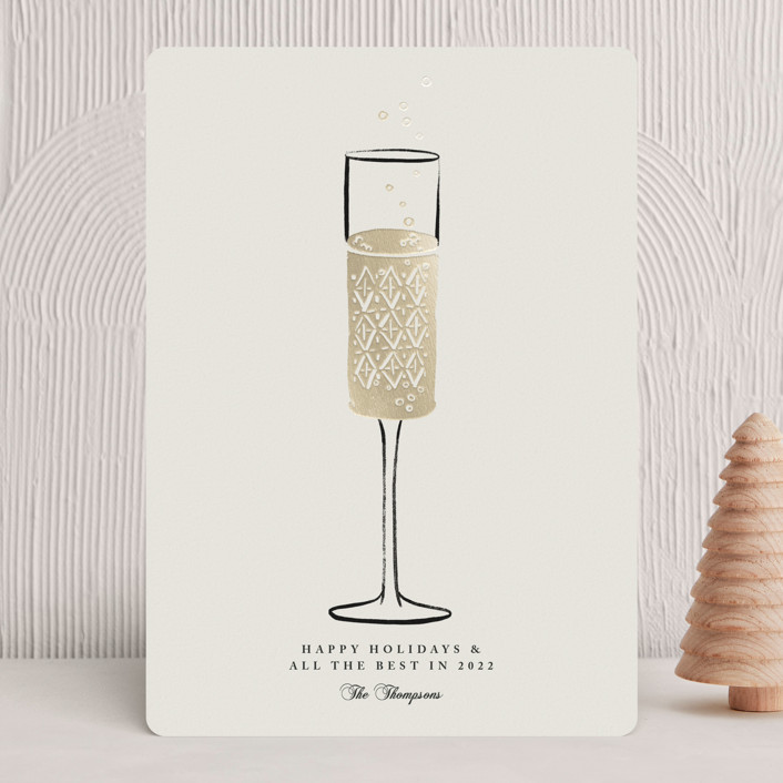 """""""Champagne Flute"""" - Foil-pressed Holiday Cards in Cream by mo kelley."""