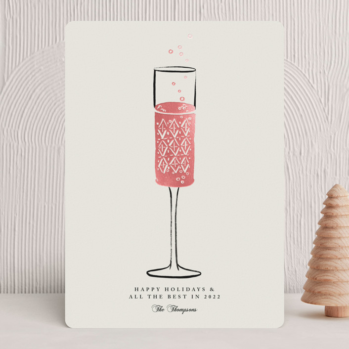 """Champagne Flute"" - Foil-pressed Holiday Cards in Cream by mo kelley."