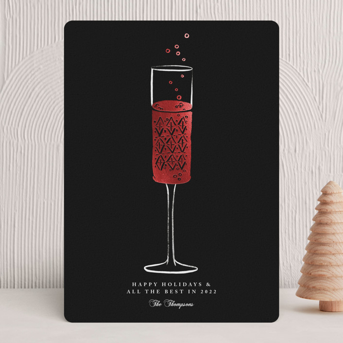 """Champagne Flute"" - Modern Foil-pressed Holiday Cards in Midnight by mo kelley."