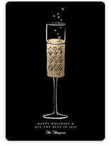 This is a black foil stamped holiday card by mo kelley called Champagne Flute with foil-pressed printing on signature in standard.