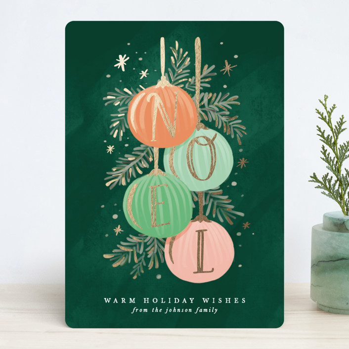 """Noel Ornaments"" - Foil-pressed Holiday Cards in Evergreen by Gina Grittner."
