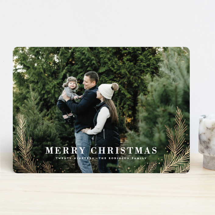 """""""gilded pines"""" - Foil-pressed Holiday Cards in Snow by Wildfield Paper Co.."""