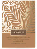 This is a brown foil stamped holiday card by Monika Drachal called Clearly Grateful with foil-pressed printing on signature in standard.