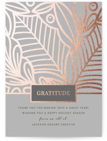This is a grey foil stamped holiday card by Monika Drachal called Clearly Grateful with foil-pressed printing on signature in standard.