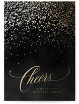 This is a black foil stamped holiday card by Creo Study called Bubbly with foil-pressed printing on signature in standard.