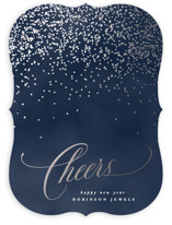 This is a blue foil stamped holiday card by Creo Study called Bubbly with foil-pressed printing on signature in standard.
