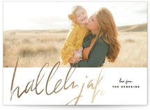 This is a black and white foil stamped holiday card by Rebecca Durflinger called script hallelujah with foil-pressed printing on smooth signature in standard.