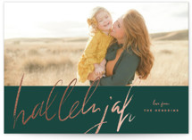 This is a green foil stamped holiday card by Rebecca Durflinger called script hallelujah with foil-pressed printing on smooth signature in standard.