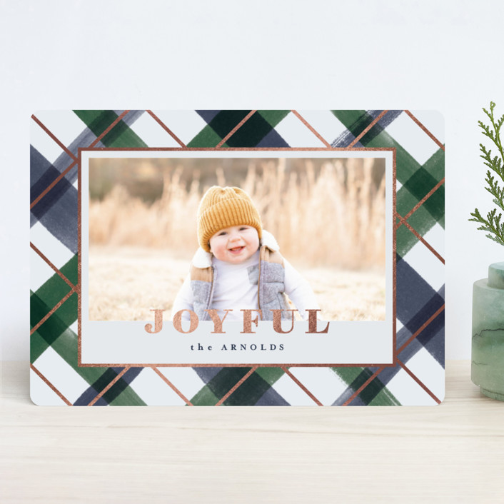 """""""Joyful Plaid"""" - Foil-pressed Holiday Cards in Ocean by Carrie ONeal."""