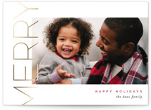 This is a red foil stamped holiday card by Pixel and Hank called Merry Stacked with foil-pressed printing on smooth signature in standard.