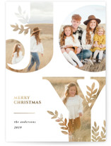 This is a white foil stamped holiday card by Playground Prints called Nature Joy with foil-pressed printing on smooth signature in standard.