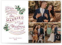 This is a red foil stamped holiday card by Sarah Brown called A Little Married with foil-pressed printing on smooth signature in standard.