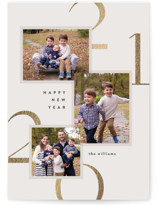 This is a grey foil stamped holiday card by Robert and Stella called Modern Layers with foil-pressed printing on smooth signature in standard.