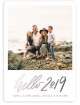 This is a blue foil stamped holiday card by Snow and Ivy called Hello New Year with foil-pressed printing on smooth signature in standard.