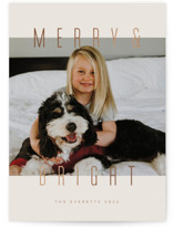 This is a brown foil stamped holiday card by Ink and Letter called MerryBright with foil-pressed printing on smooth signature in standard.