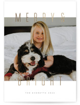 This is a white foil stamped holiday card by Ink and Letter called MerryBright with foil-pressed printing on smooth signature in standard.