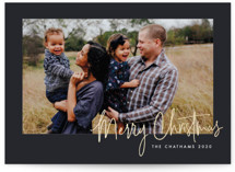 This is a black foil stamped holiday card by Ink and Letter called Signed Sealed Delivered with foil-pressed printing on smooth signature in standard.