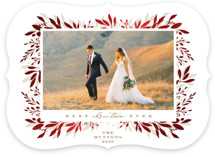 This is a brown foil stamped holiday card by Susan Zinader called Best Ever with foil-pressed printing on smooth signature in standard.