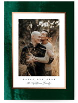 This is a green foil stamped holiday card by Owl and Toad called Soft Velvet with foil-pressed printing on smooth signature in standard.
