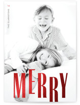 This is a red foil stamped holiday card by Melissa Casey called Oh So Merry with foil-pressed printing on smooth signature in standard.