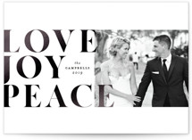 This is a white foil stamped holiday card by Ella Weaver called love joy peace with foil-pressed printing on smooth signature in standard.