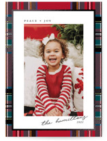 This is a red foil stamped holiday card by Hudson Meet Rose called Festive tartan with foil-pressed printing on smooth signature in standard.