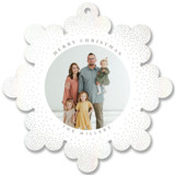 This is a white holiday card ornament by Owl and Toad called Snowflake with gloss-press printing on smooth signature in ornament.