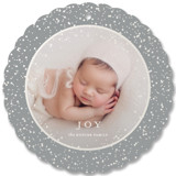 This is a white holiday card ornament by Nicoletta Savod called Sparkling Keepsake with gloss-press printing on smooth signature in ornament.