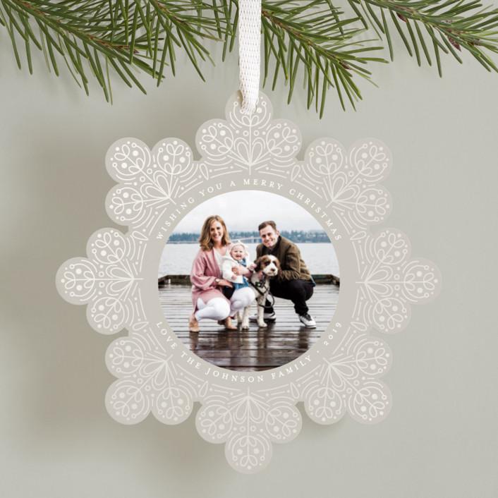 """Scandinavian Snowflake"" - Gloss-press™ Holiday Ornaments in Snowfall by Amy Payne."