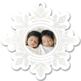 This is a white holiday card ornament by Jessie Steury called Super Snowflake with gloss-press printing on smooth signature in ornament.