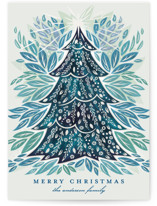 This is a blue gloss press holiday card by Paper Sun Studio called Shining Bright with gloss-press printing on signature in standard.