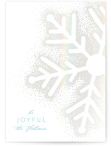 This is a white gloss press holiday card by Kaydi Bishop called Snowy Flake with gloss-press printing on signature in standard.