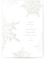 This is a white gloss press holiday card by Robert and Stella called Dusted Snowflakes with gloss-press printing on signature in standard.
